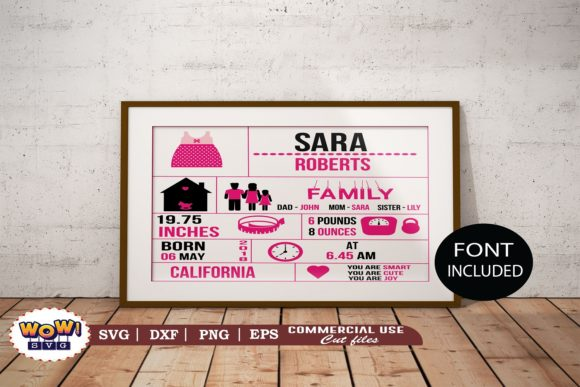 Print on Demand: Birth Announcement Template Svg, Girl Graphic Illustrations By Wowsvgstudio