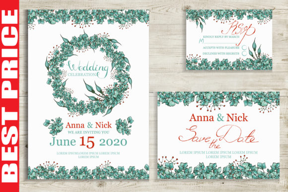 Blue Flowers Wedding Invitation Cards Graphic Print Templates By AstraDesign