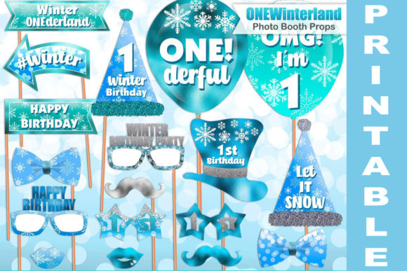 Blue Winter ONEderland Photo Booth Props Graphic Crafts By paperart.bymc