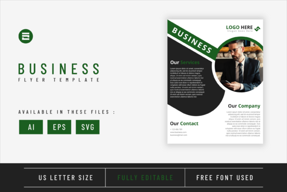 Business Flyer Template Dark Green Color Graphic