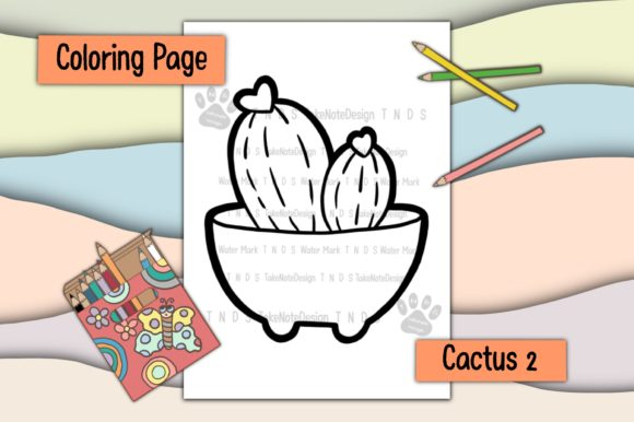 Cactus 2 Graphic Coloring Pages & Books Kids By TakeNoteDesign