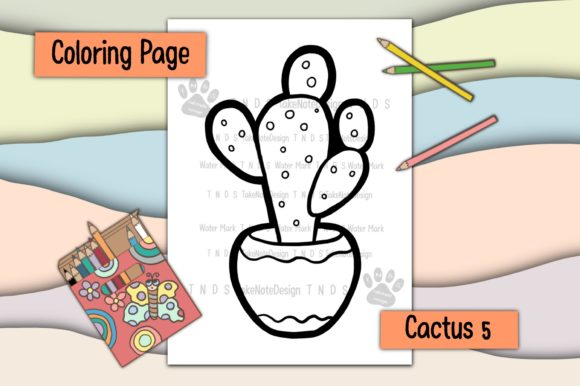 Cactus 5 Graphic Coloring Pages & Books Kids By TakeNoteDesign