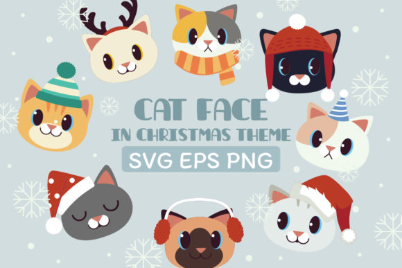 Cat Face Clipart in Christmas Theme Graphic Illustrations By Guppic the duck