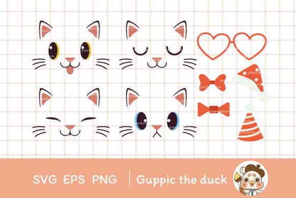 Cat Face Set with SVG EPS PNG Clipart Grafik Illustrationen von Guppic the duck