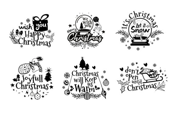 Christmas Clipart for Design Quotes Graphic Illustrations By onoborgol