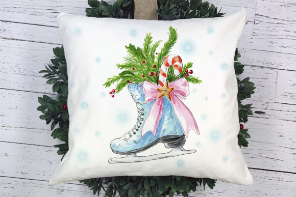 Christmas Skate with Decoration Graphic Illustrations By ksenia.shuneiko