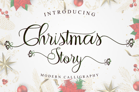 Print on Demand: Christmas Story Script & Handwritten Font By andreyfontdesign