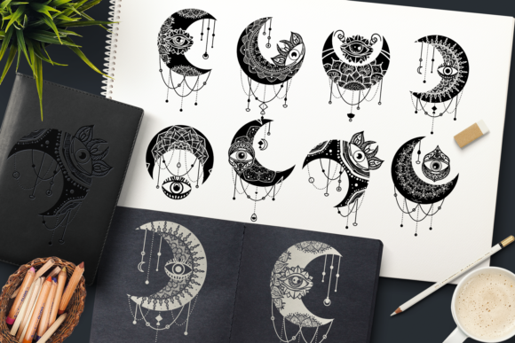 Print on Demand: Crescent Moon Eyes Clipart Set Grafik Objekte von barsrsind