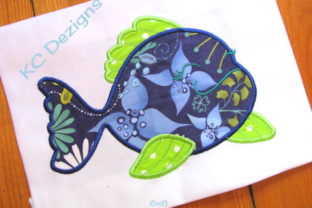 Cute Fish 03 Applique Fish & Shells Embroidery Design By karen50