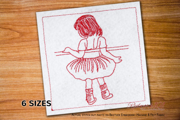 Cute Little Girl in Ballerina Pose Dance & Drama Embroidery Design By Redwork101