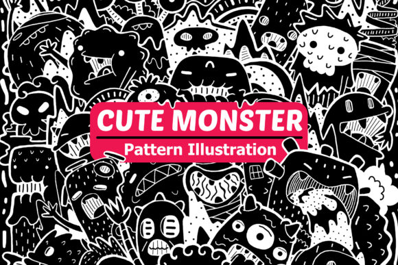 Cute Monster Pattern Illustration Graphic Patterns By medzcreative