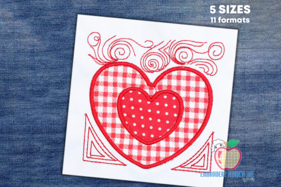 Double Floral Heart Applique Valentine's Day Embroidery Design By embroiderydesigns101