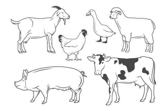 Farm Animals Graphic Illustrations By Cmeree