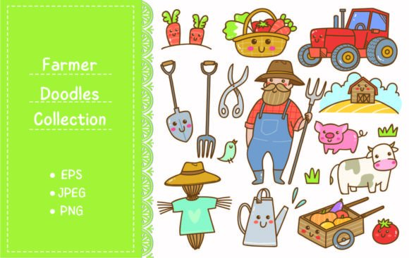 Farmer and Farming Equipment Doodle Graphic Illustrations By Big Barn Doodles