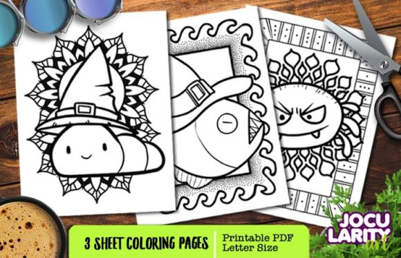 Fish, Caterpillar, Spider - Halloween Graphic Coloring Pages & Books Kids By JocularityArt