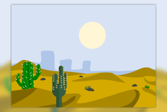 Flat Cartoon Cactus on Desert Graphic Illustrations By faqeeh
