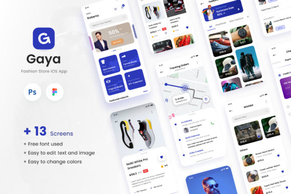 Print on Demand: Gaya - Fashion Store IOS App Design UI Graphic UX and UI Kits By peterdraw
