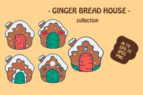 Print on Demand: Ginger Bread House X-mas Icon Pack Graphic Illustrations By archshape
