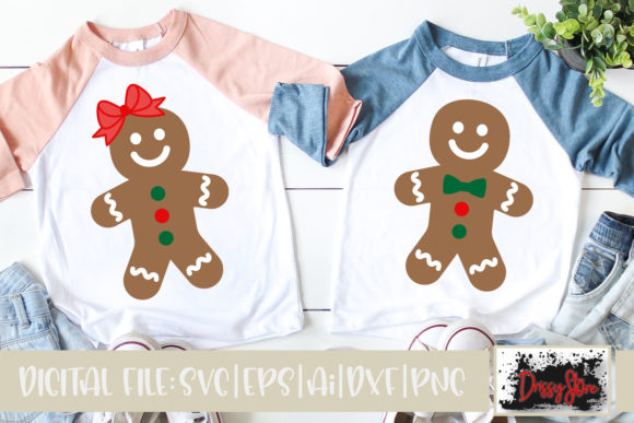 Gingerbread Boy and Girl Graphic Illustrations By DrissyStore