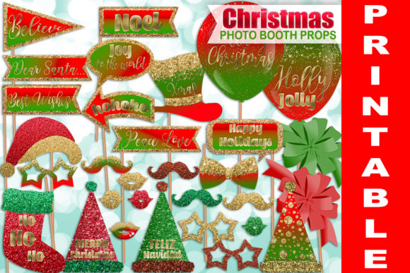 Glitter Christmas Photo Booth Props Graphic Crafts By paperart.bymc