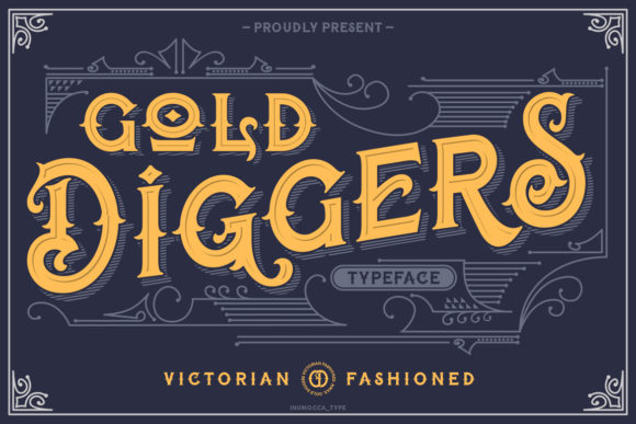Print on Demand: Gold Diggers Display Font By inumocca_type