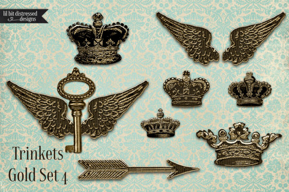 Print on Demand: Gold Metal Crowns Arrows Wings Keys Graphic Illustrations By LilBitDistressed