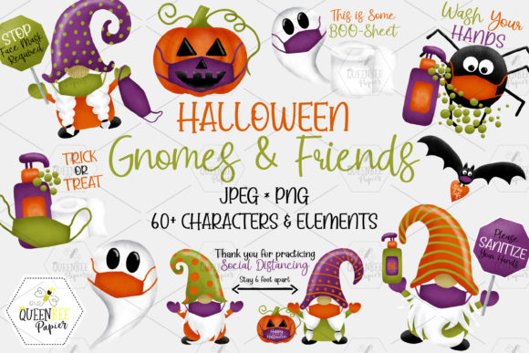 Halloween 2020 Gnomes Social Distancing Graphic Illustrations By Queen Bee Papier