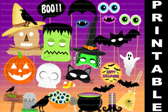 Halloween Photo Booth Props / PRINTABLE Graphic Crafts By paperart.bymc