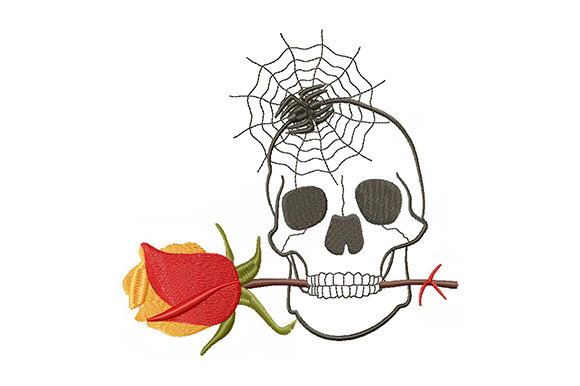 Print on Demand: Halloween Skull and Rose Halloween Stickdesign von EmbArt