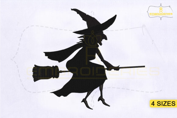 Halloween Witch Silhouette Halloween Embroidery Design By RoyalEmbroideries