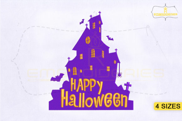 Happy Halloween Haunted House Halloween Stickdesign von RoyalEmbroideries