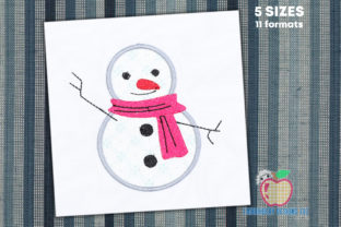 Happy Snowman Applique Winter Embroidery Design By embroiderydesigns101