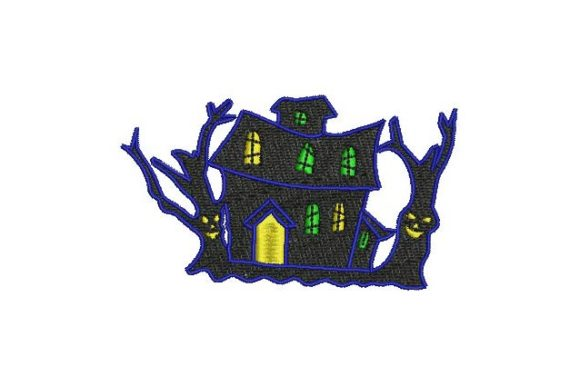 Haunted House Halloween Embroidery Design By BabyNucci Embroidery Designs