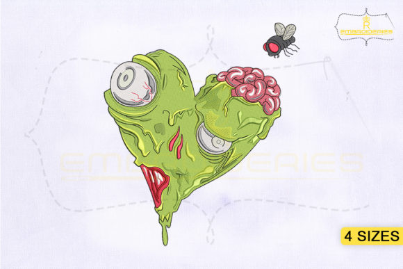 Horror Heart Zombie Design Halloween Embroidery Design By RoyalEmbroideries