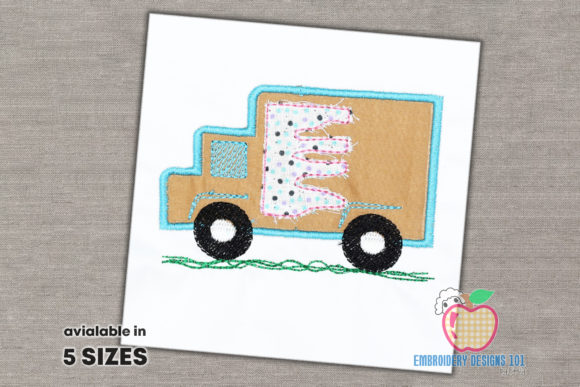 Ice Cream Box Truck Transportation Embroidery Design By embroiderydesigns101