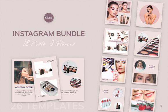 Instagram Bundle. Universal Beauty Canva Graphic Instapage By milagro.mst