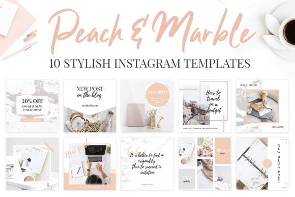 Instagram Templates. Peach & Marble Graphic Graphic Templates By switzershop