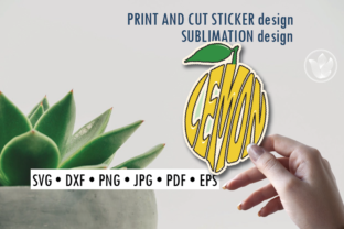 Lemon Print and Cut Sticker, Sublimation Graphic Crafts By PrettyDD