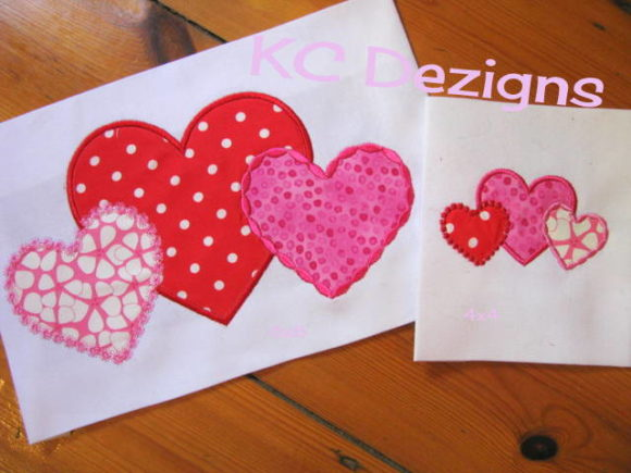 Linked Hearts Applique Valentine's Day Embroidery Design By karen50