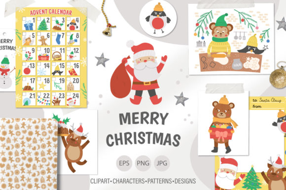 Merry Christmas Collection Graphic Illustrations By lexiclaus