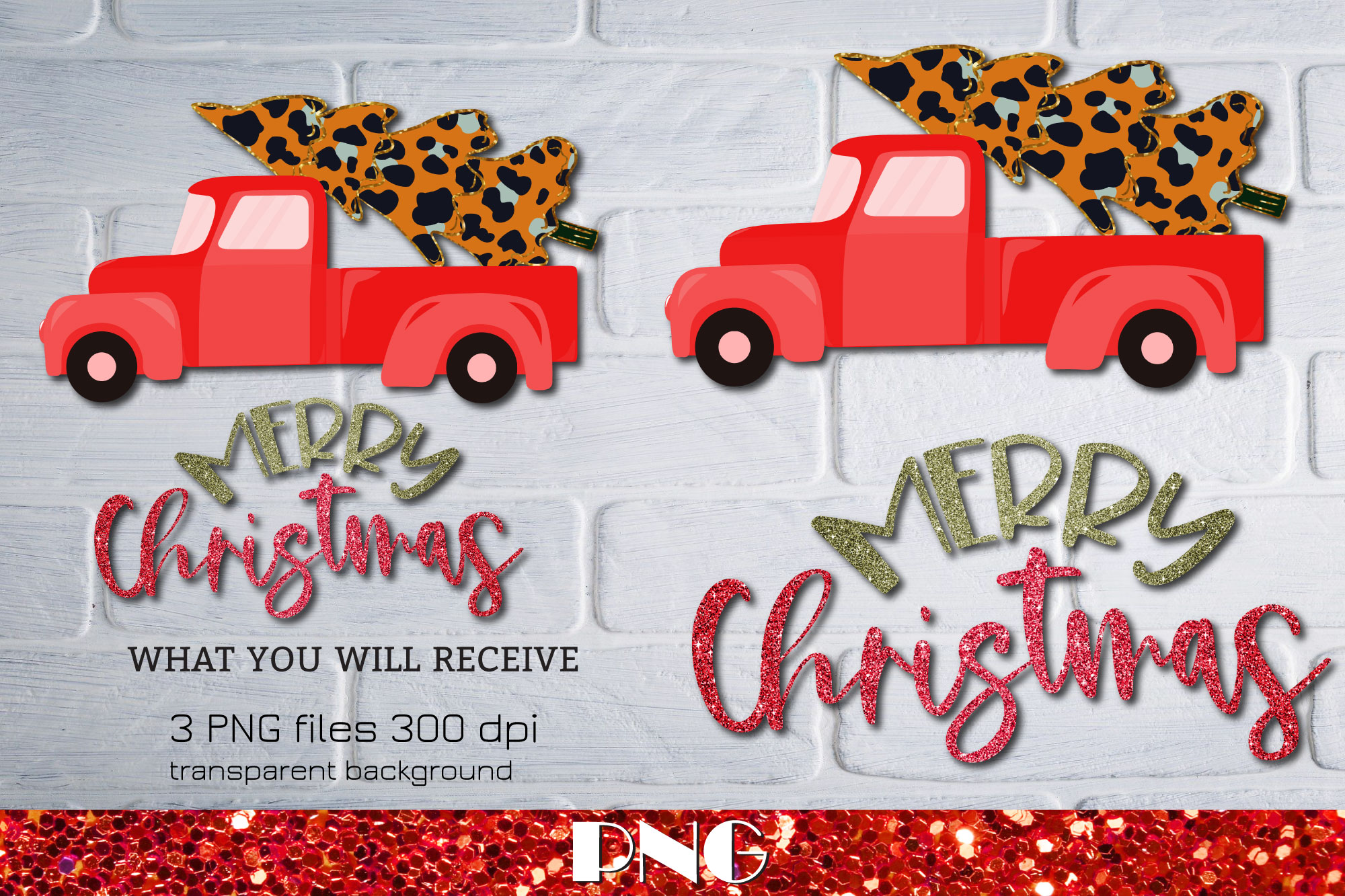 Merry Christmas Red Truck Sublimation Graphics 6055807 1
