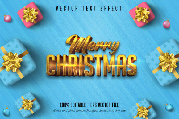 Print on Demand: Merry Christmas Text, Gold Text Effect Graphic Layer Styles By Mustafa Bekşen