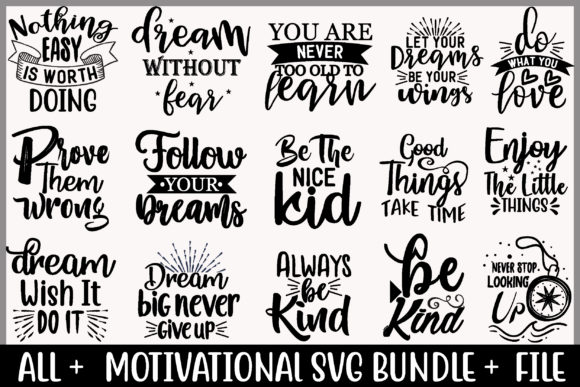 Motivational Bundle Graphic Print Templates By creative store.net