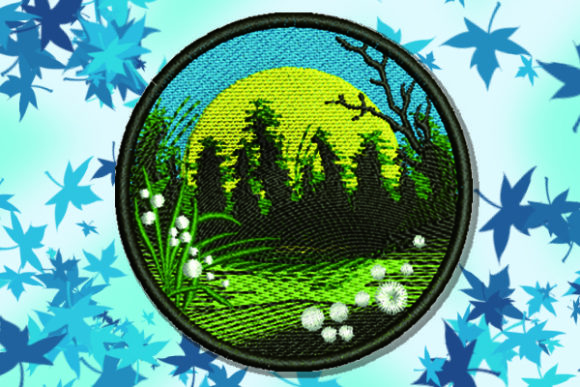 Nature in a Circle Forest & Trees Embroidery Design By Samsul Huda