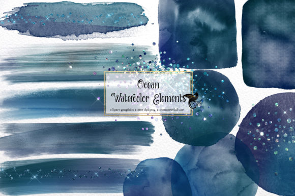 Print on Demand: Ocean Watercolor Elements Graphic Illustrations By Digital Curio