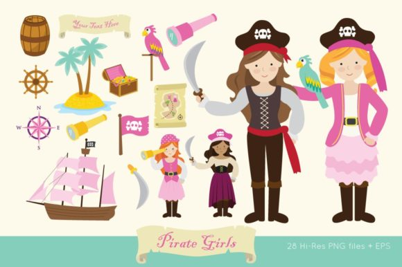 Pirate Girls Clip Art Vector PNG Graphic Illustrations By peachycottoncandy