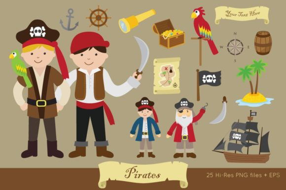 Pirates Clipart Vector PNG Graphic Illustrations By peachycottoncandy