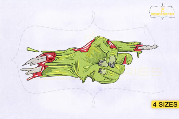 Pointing Finger Zombie Hand Halloween Embroidery Design By RoyalEmbroideries