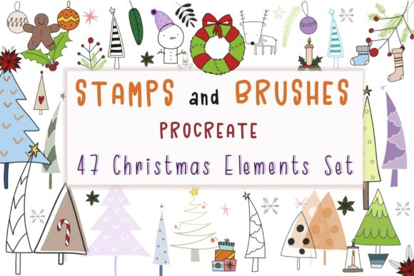 Print on Demand: Procreate 47ChristmasElementsSet Brushes Graphic Brushes By Pui Pui