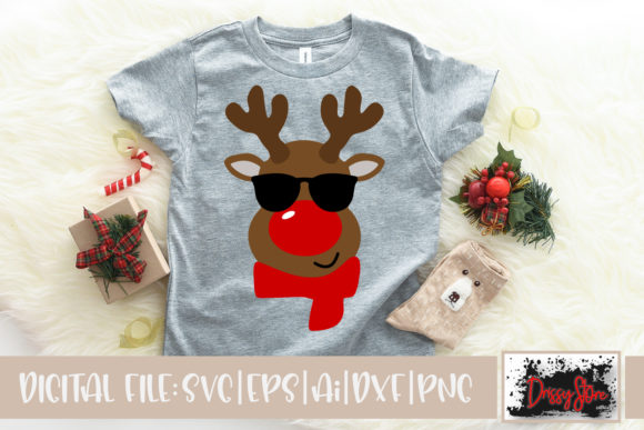Rednosed Reindeer with Sunglasses Graphic Illustrations By DrissyStore